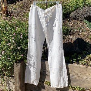 CAbi lyocell linen wide leg pocket pants